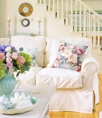I have these white slipcovers on furniture at my beach house. White you can bleach, yay.