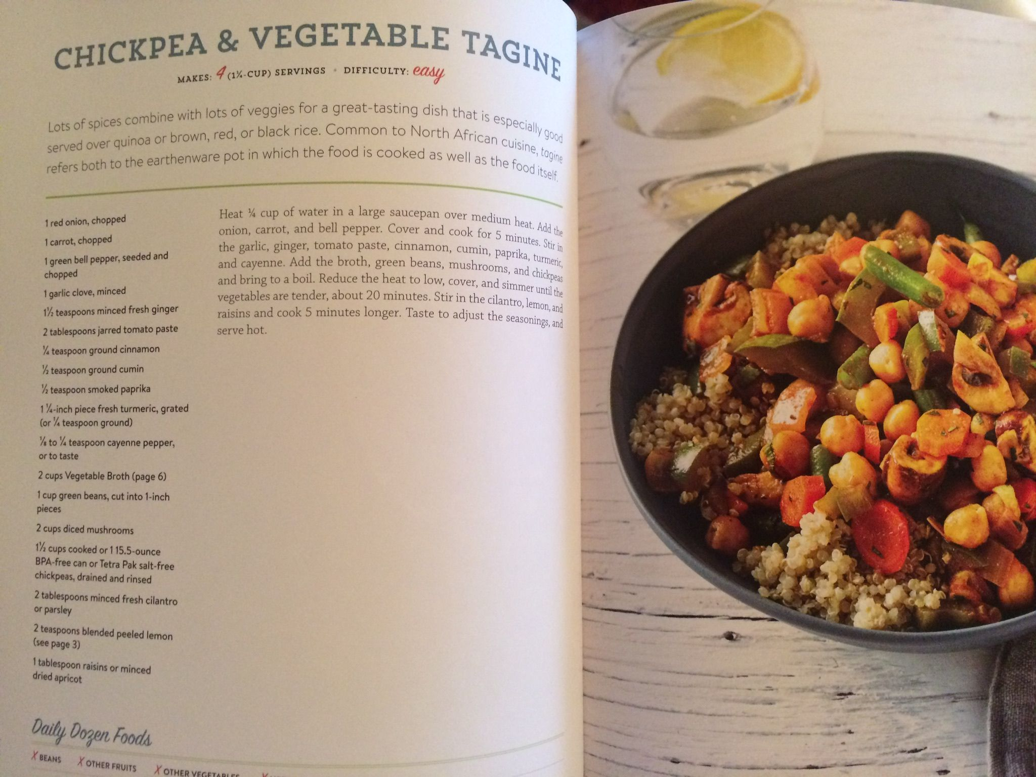 Chickpea Vegetable Tagine From How Not To Die Cookbook Food