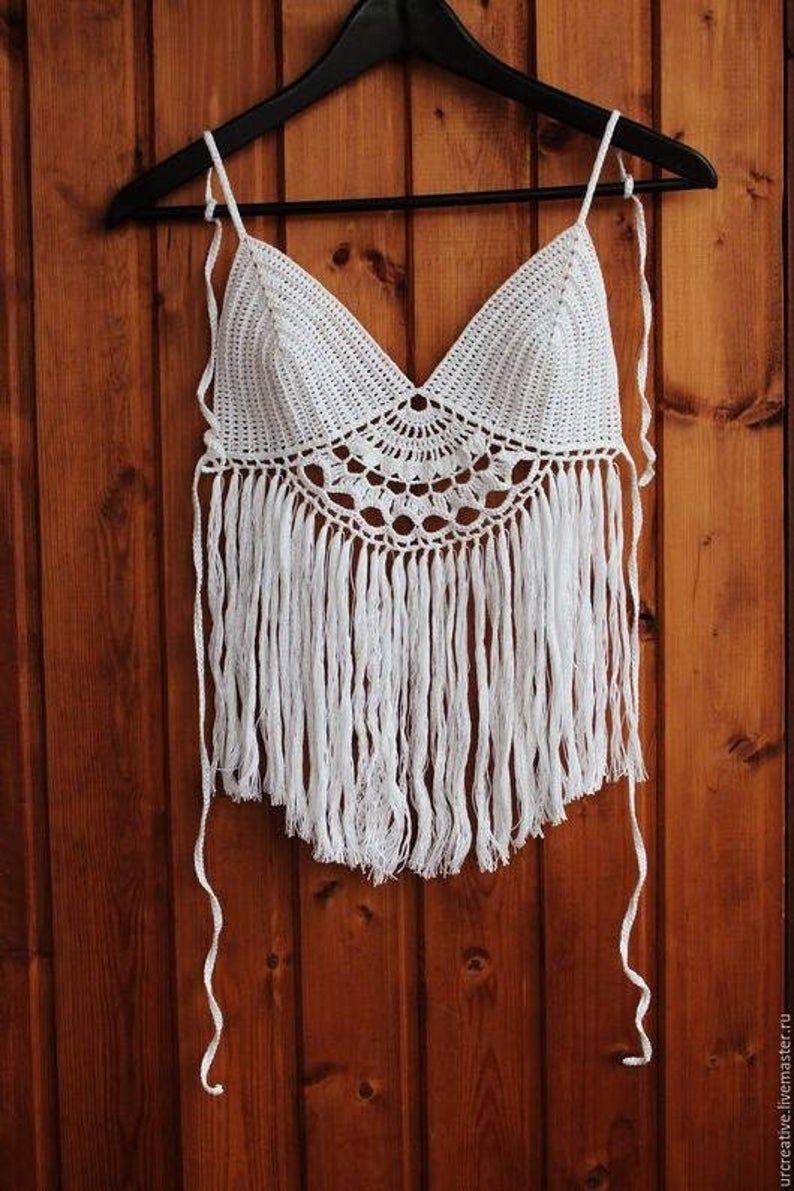 crochet top, handmade bikini, gift ideas, summer clothing,cozy dress , beach dress,top with fringes