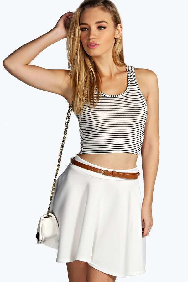 $8, White Skater Skirt: Boohoo Christa Full Circle Belted Skater Skirt. Sold by BooHoo. Click for more info: https://lookastic.com/women/shop_items/224409/redirect
