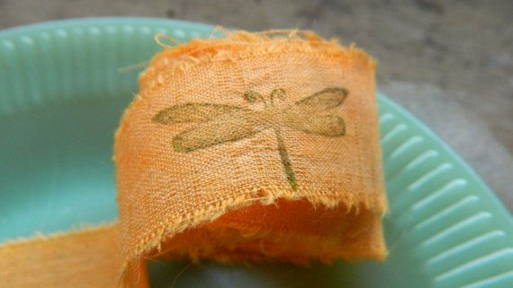 Cotton Muslin Ribbon  Mango  Dragonfly Hand stamped  by papercatz, $2.50
