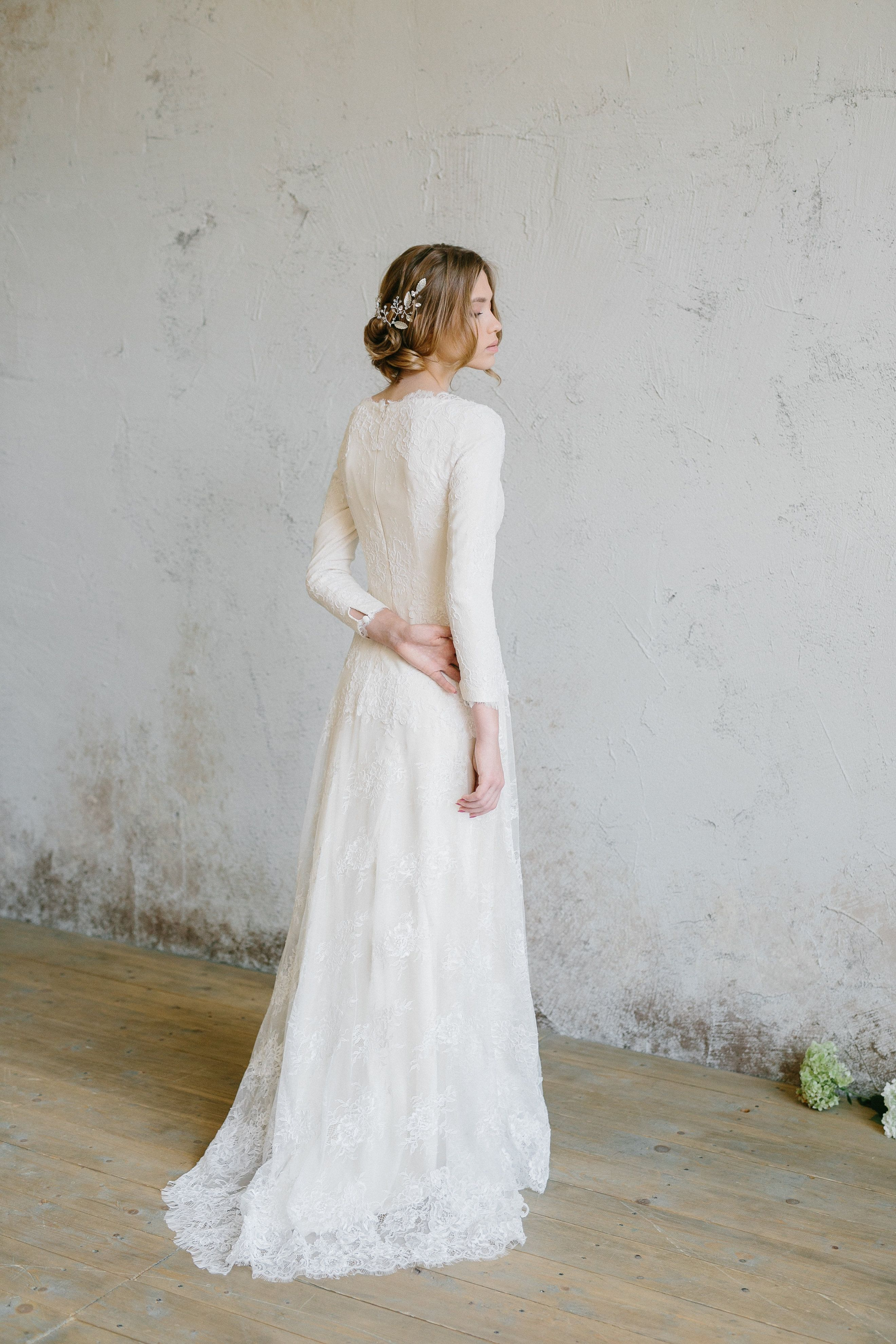 Long sleeved lace wedding dress  Long Sleeve Lace Wedding Dress  Winter Wedding Dress Hearties