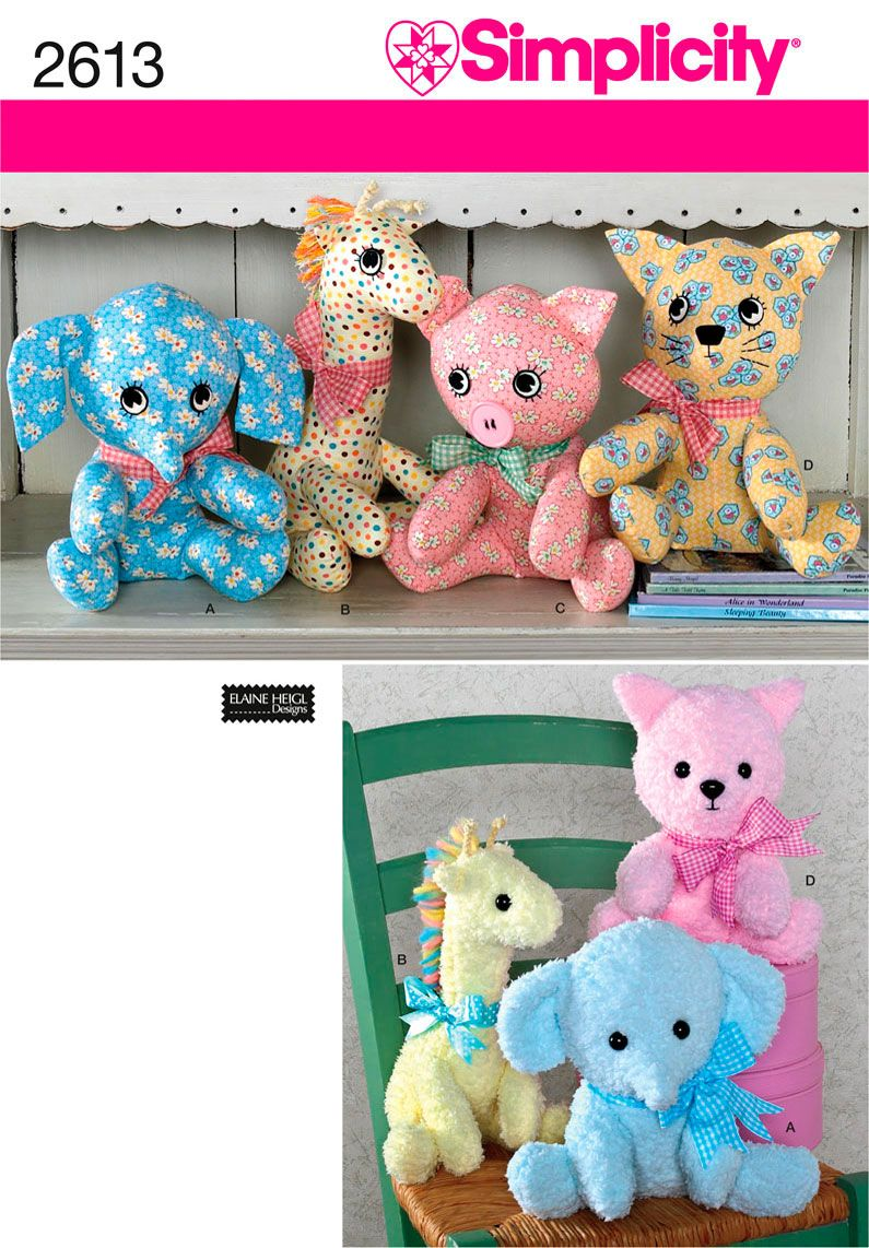 Simplicity 2613 just got this sewing pinterest animal sewing pattern for stuffed animals simplicity patterns for elephant giraffe pig cat toy sewing pattern jeuxipadfo Images