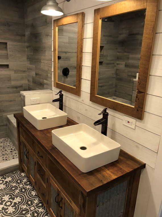 Mirror Frame - Rustic Barn Wood Vanity Mirror Frame (Frame Only - Mirror NOT INCLUDED) #M5681 #rusticbathrooms