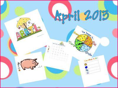 April Smartboard or Powerpoint Calendar
