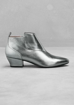 silver low heel ankle boots