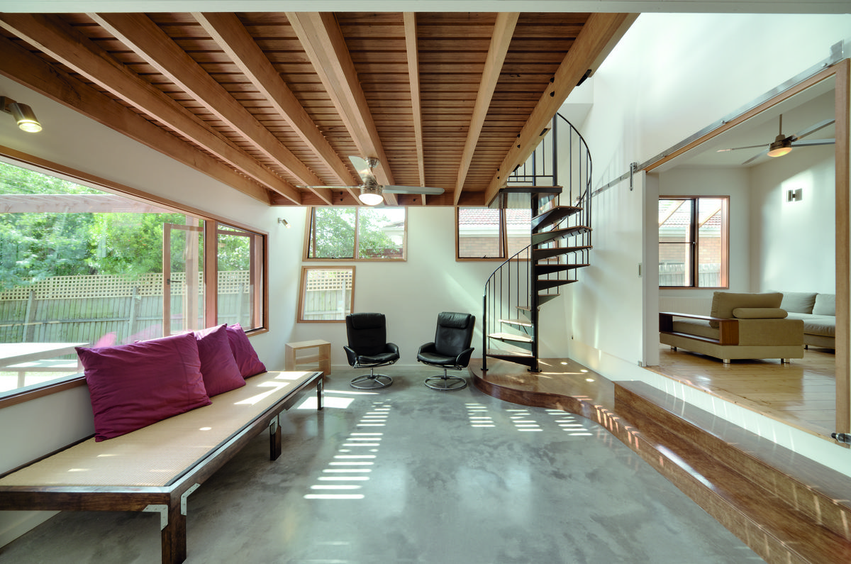 A Cozy, Nest-Like Mezzanine Studio Floats Above This Living Space ...