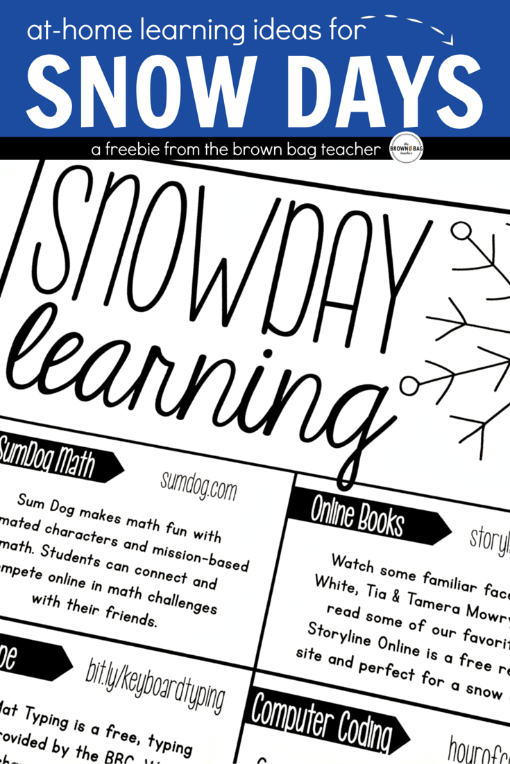 Snow Day Learning Ideas | Student learning, Students and Learning