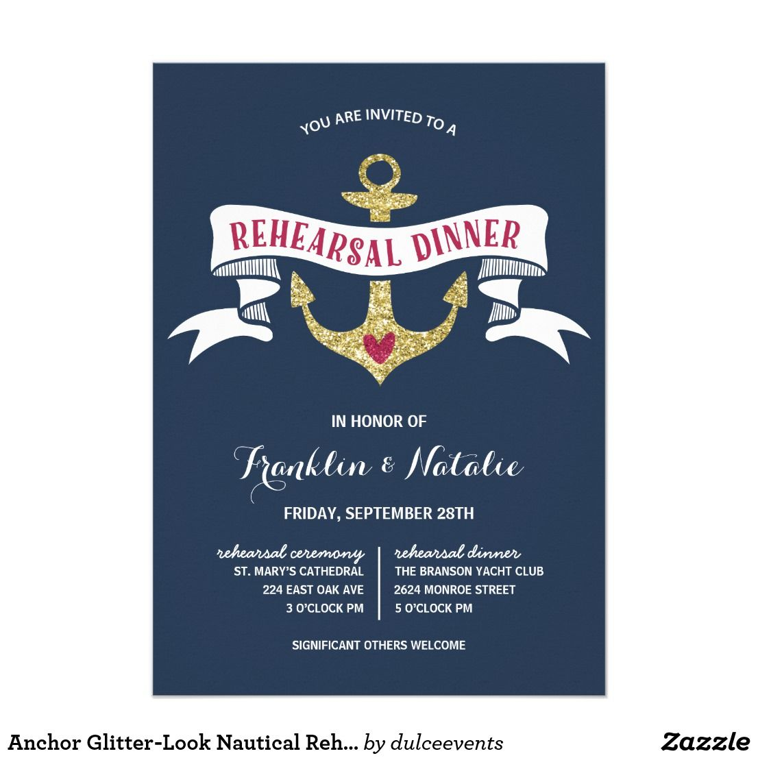 Nautical Theme Rehearsal Dinner Card Featuring Glitter Look Anchor