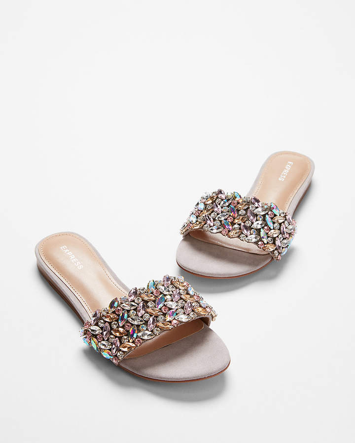 61acbdb2d94e Express Jeweled Slide Sandals - so pretty! Bejeweled sandal   flats from  Express.