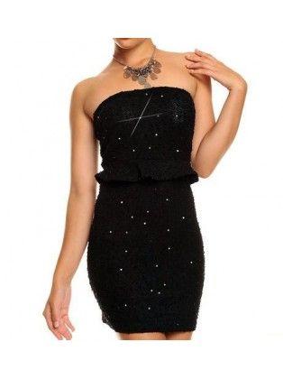 Sequin Embellished Flouncing Waist Black Polyester Tube Dress