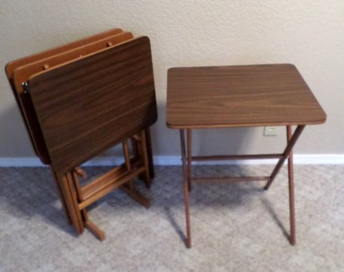 Vintage Mid Century Modern SCHEIBE Wood TV Trays Folding Tables Set Of 4 +  Stand