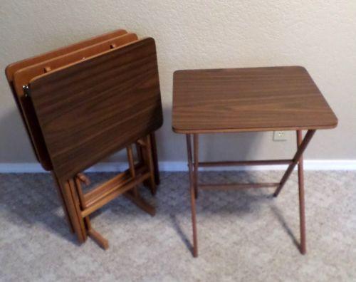 Vintage Mid Century Modern SCHEIBE Wood TV Trays Folding Tables Set of 4 + Stand & Luvable Friends Printed Fleece Blanket Birds | Tv trays Folding ...