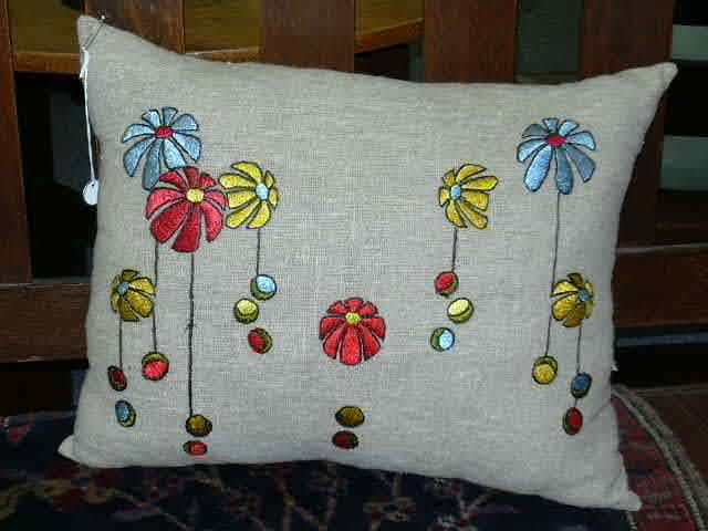 """Embroidered Arts and Crafts Pillow Mint Condition 19"""" by 15"""" $350"""
