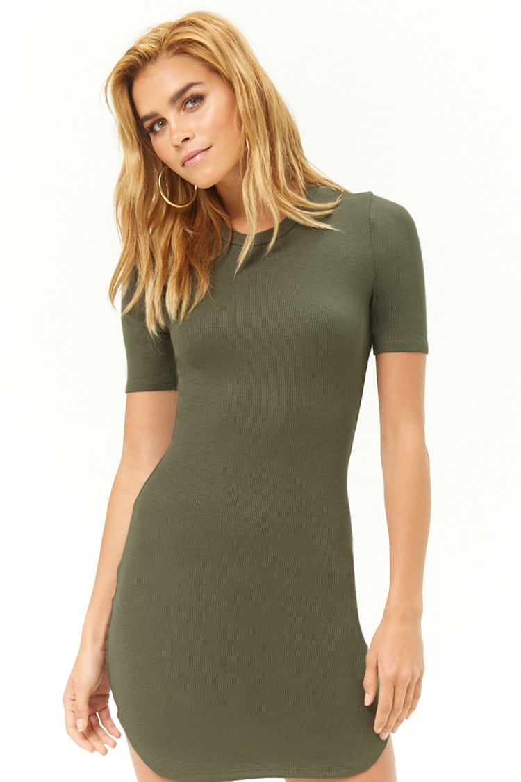 57bfd91c Ribbed Bodycon T-Shirt Dress | Wife's outfit | Dresses, Shirt Dress ...