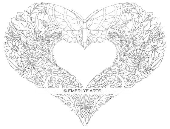 open hearts coloring pages for adults set of 10 by emerlyearts colouring pinterest. Black Bedroom Furniture Sets. Home Design Ideas