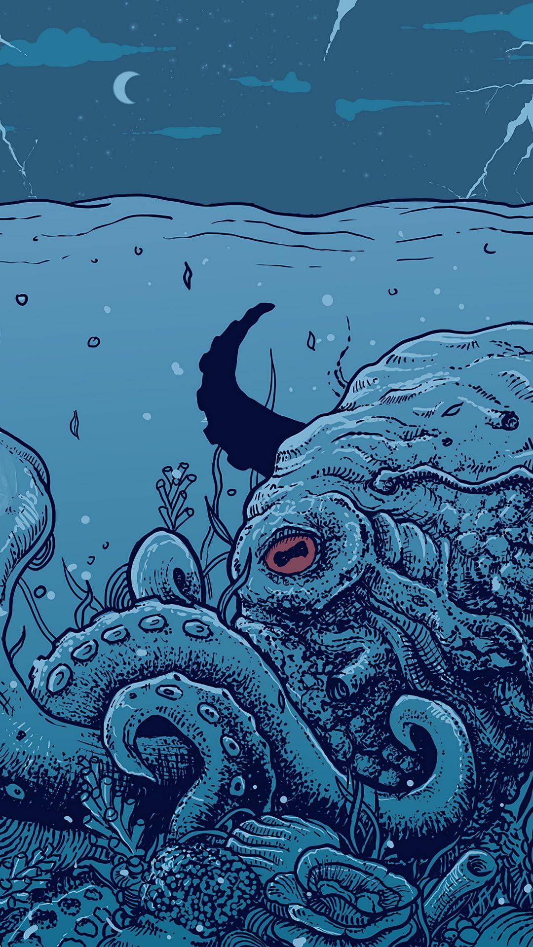 1080x1920 Wallpaper Octopus Underwater World Art