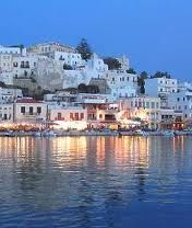 Naxos is a Greek island, the largest island in the Cyclades island group in the Aegean. It was the centre of archaic Cycladic culture. The island comprises the two municipalities of Naxos and Drymalia.
