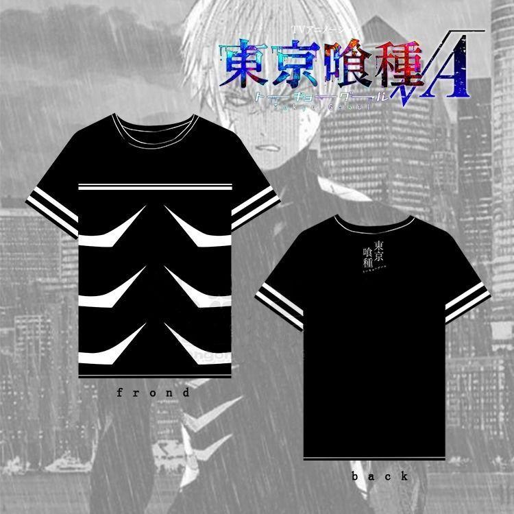 Anime Tokyo Ghoul Ken Kaneki Cosplay Costume Black T-shirt Short Sleeve Tee Top