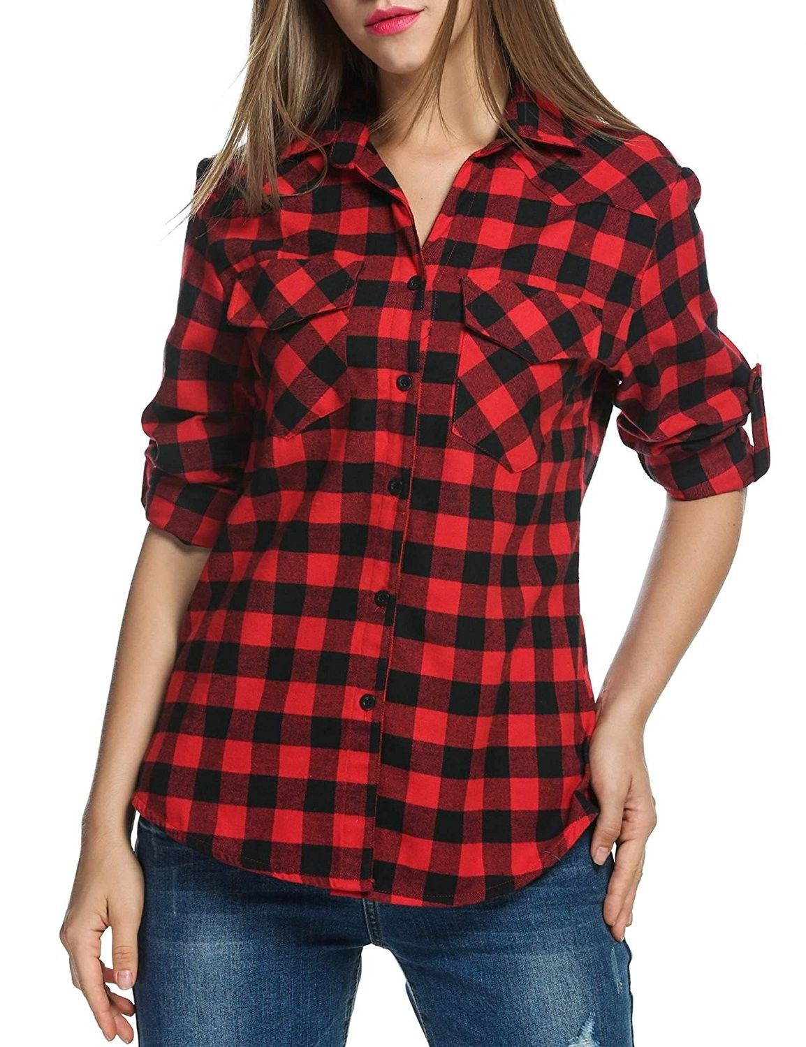 53d2d5b625bd7 Women s Roll Up Long Sleeve Plaids Buttoned Casual Boyfriend ...
