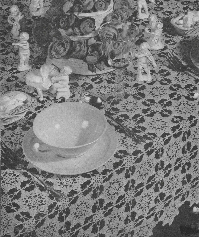 Vintage 1940 S Tablecloth Crochet Pattern Retro Home Decor