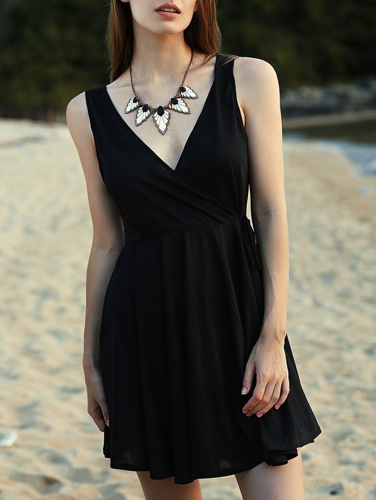 Crossed vneck sleeveless solid color dress black summer dresses