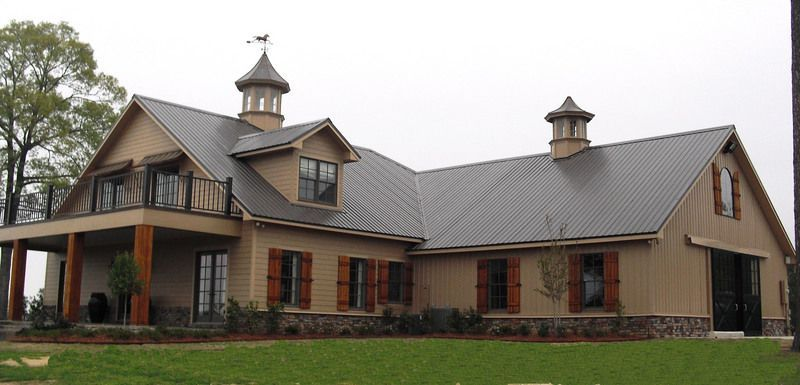 L shaped barn with apartment. Stone foundation veneer. | Barns and ...