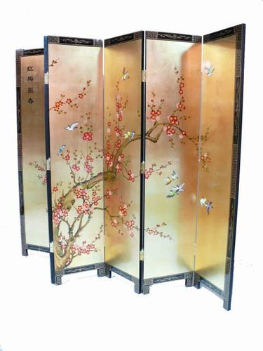 Gold Leaf Plum Blossom Room Divider Screen Oriental Chinese Furniture Ebay 399 00 Room Divider Screen Room Divider Divider Design