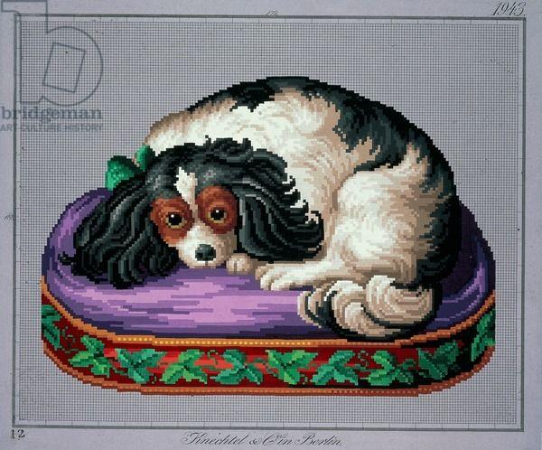 Sleeping dog embroidery design, 19th century