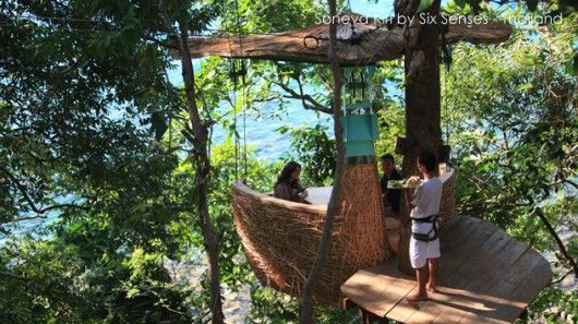 Set high among the tree tops, tree pod dining at the Six Senses' Soneva Kiri is an innovative way to experience a meal.