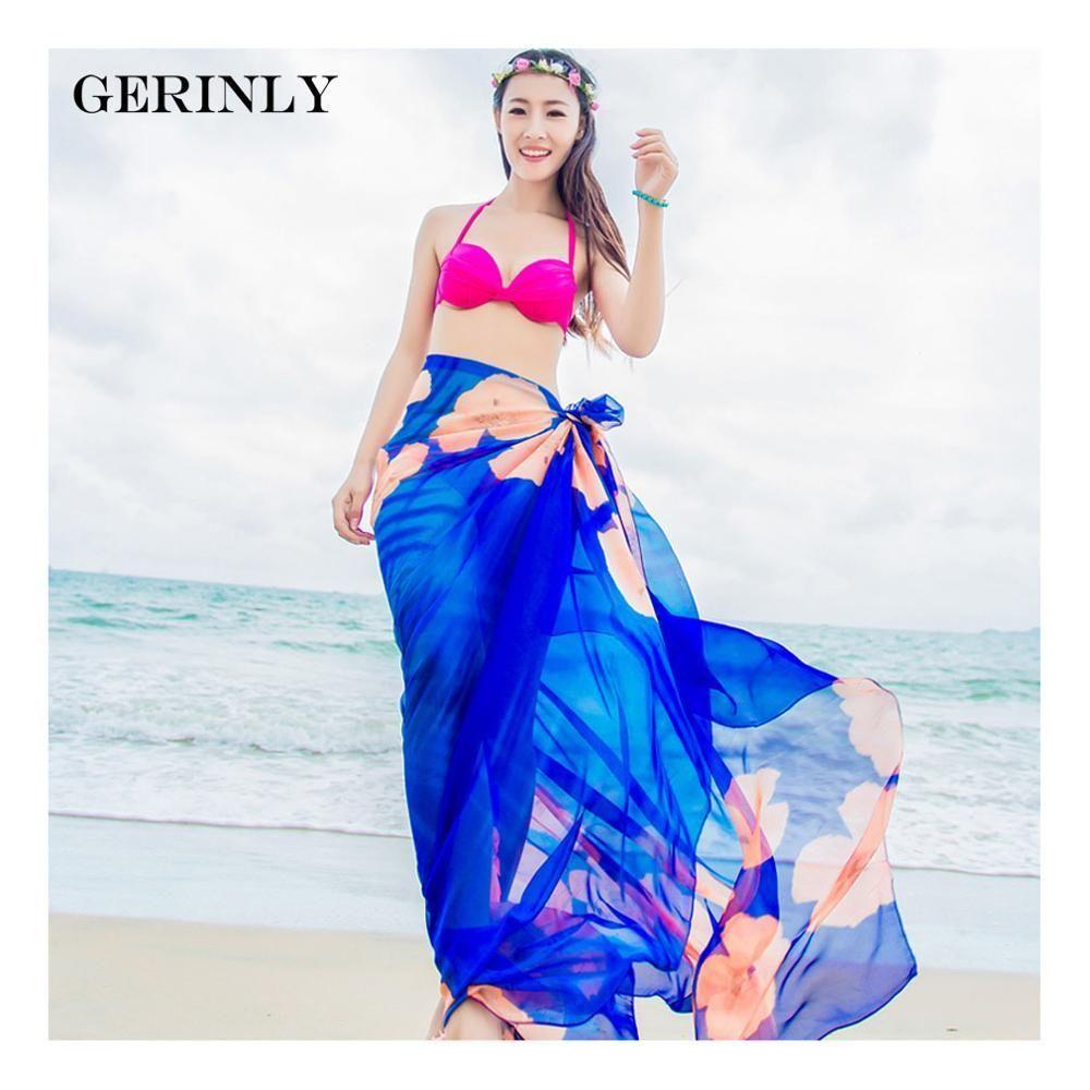 78fb4f653b7 GERINLY Sarong Beach Pareo Hibiscus Print Chiffon Scarf Hawaiian Dresses  Sexy Women Bikini Cover Up Wrap