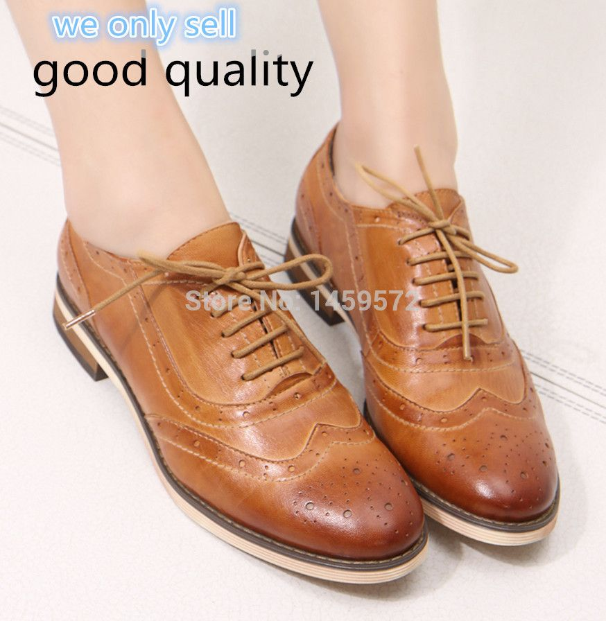Women Lace-up Casual Brogue Shoes Genuine Leather Women Flats Shoes for  Lady Bullock Leisure