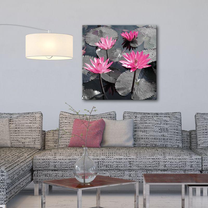 ambiance zen avec ce tableau moderne et pur dans les tons gris et rose l 39 eau et les fleurs de. Black Bedroom Furniture Sets. Home Design Ideas