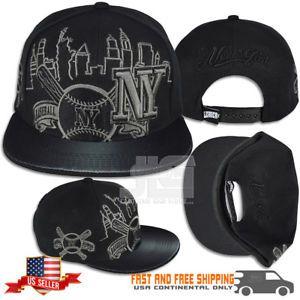 d6aaaf0db06  33.35 New York Black Grey Snapback SKYLINE NY Baseball Fan leader Hat Cap  NEW