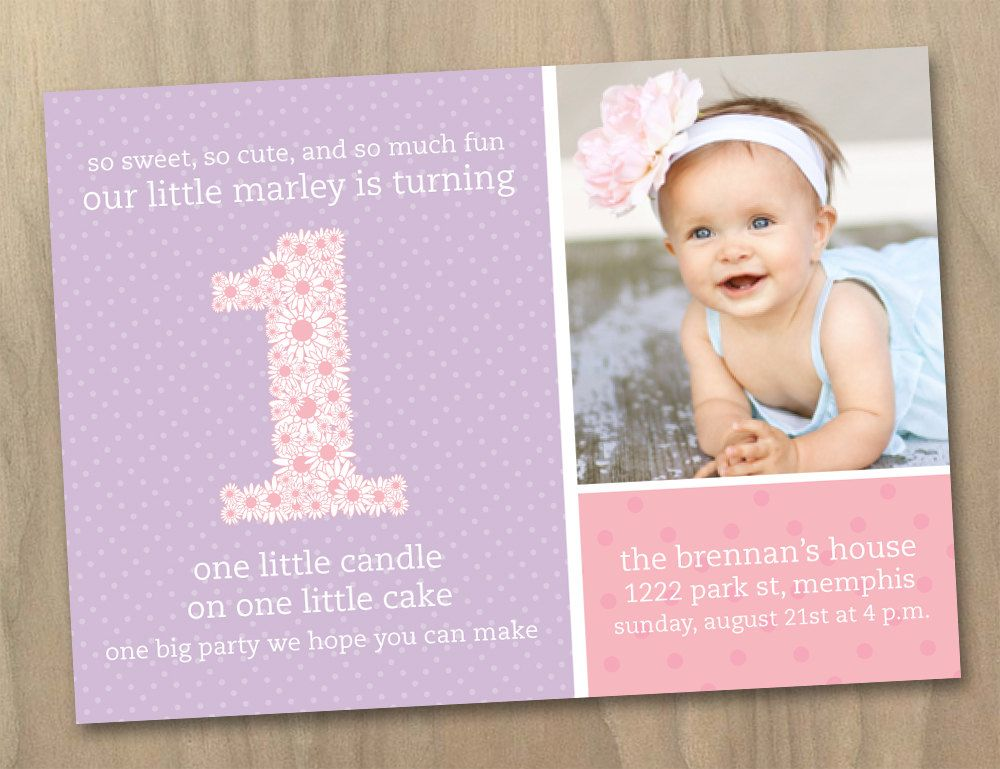 Baby Girl First 1st Birthday Photo Invitation Pink and Purple – Custom 1st Birthday Invitations
