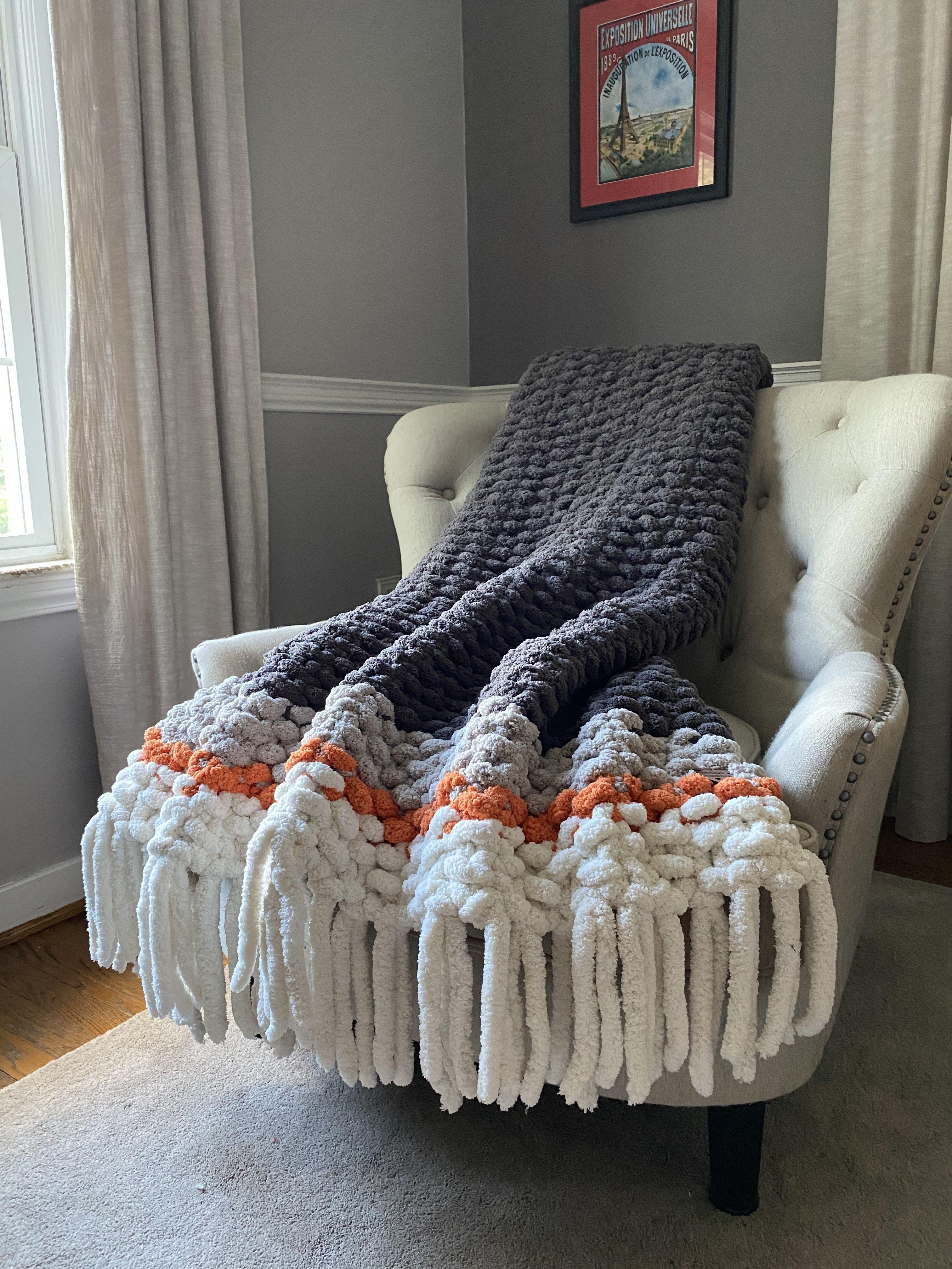 Chunky Fringe Blanket Orange and Gray Throw in 2020