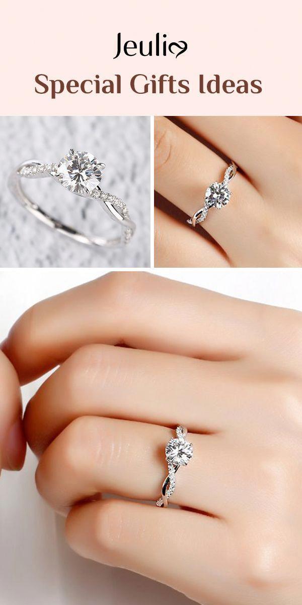 Moissanite Blue Diamonds Wedding Ring Set Unique Blue Diamond