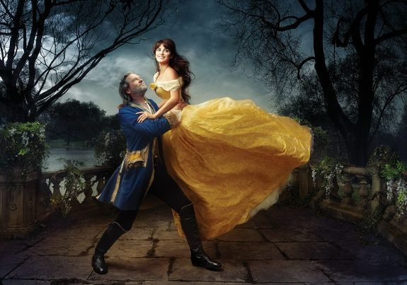 Annie Leibovitz's Disney Dream Portraits - Penelope Cruz and Jeff Bridges as Belle and the transformed Beast