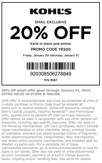 20 Off Kohls Coupon Promo Codes Printable Coupons