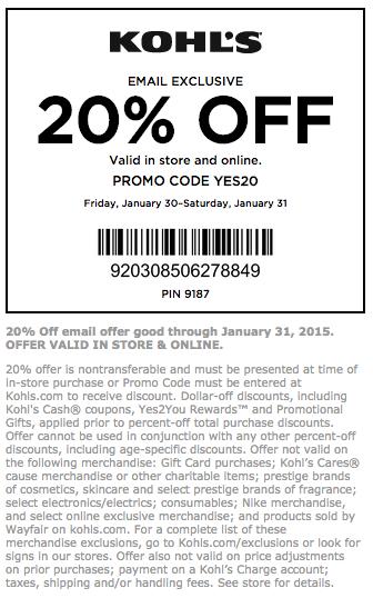 20 Off Kohls Coupon Promo Codes Printable Coupons