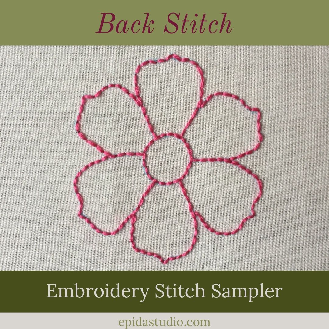 Stitching A Motif With Backstitch Epida Studio Embroidery Stitches Back Stitch Embroidery Hand Embroidery Stitches