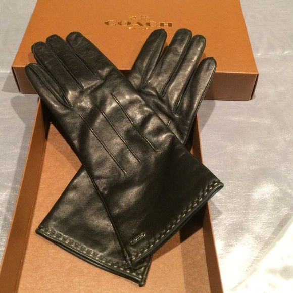 50c7485850bb7 Authentic Coach with gift box leather gloves COACH Women's Cashmere Lined  Leather size 7 black gloves 83875 blk new nwt Coach Accessories Gloves &  Mittens
