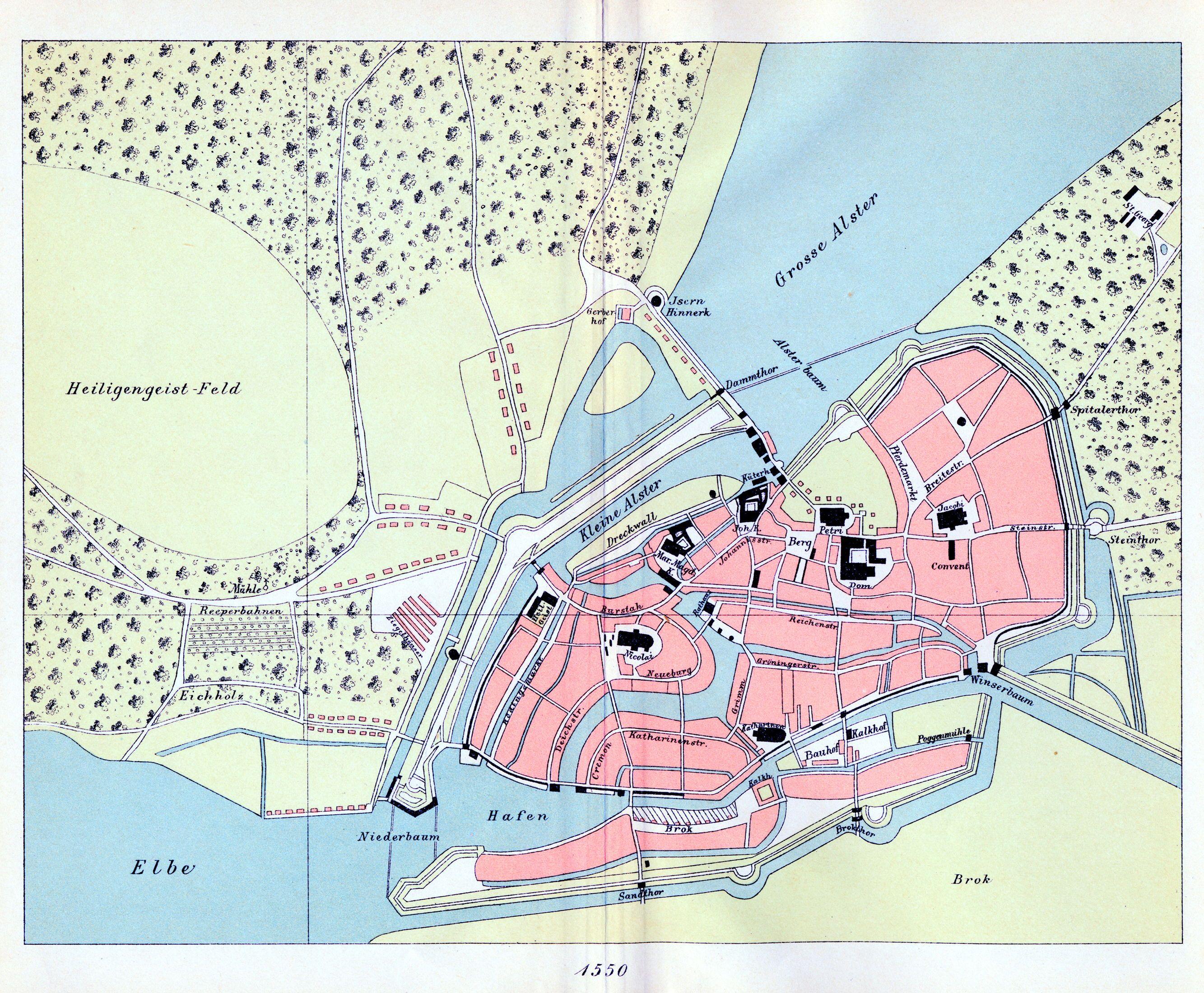 Alte und historische topographische Karten Stadtpläne und Straßenkarten aus Hamburg