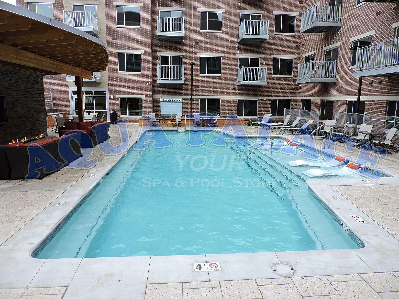 Custom Gunite Swimming Pool In Downtown Omaha Ne Apartment Complex Pool Lighting Tile Wor Custom Swimming Pool Building A Swimming Pool Swimming Pool Designs