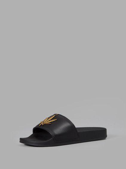 3b79e0375b9c PALM ANGELS PALM ANGELS MEN S BLACK WEED POOL SLIDES.  palmangels  shoes   sandals