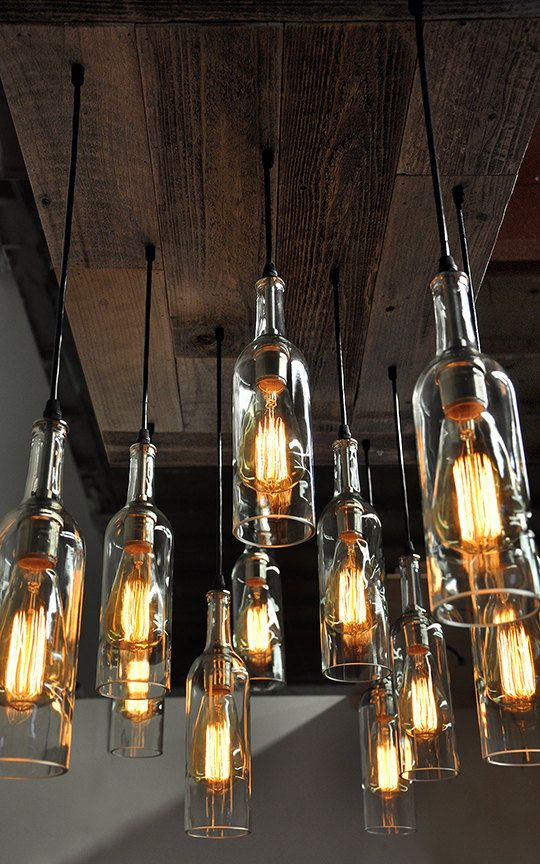 Oversized Reclaimed Wood Wine Bottle Chandelier Dining Room
