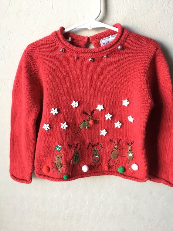 ugliest christmas sweaters a red knitted sweater size 3t spot clean recommended but hand wash if needed