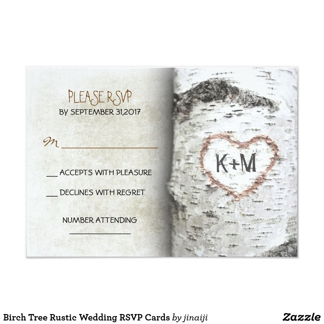 Birch Tree Rustic Wedding Rsvp Cards Best Invitations Pinterest