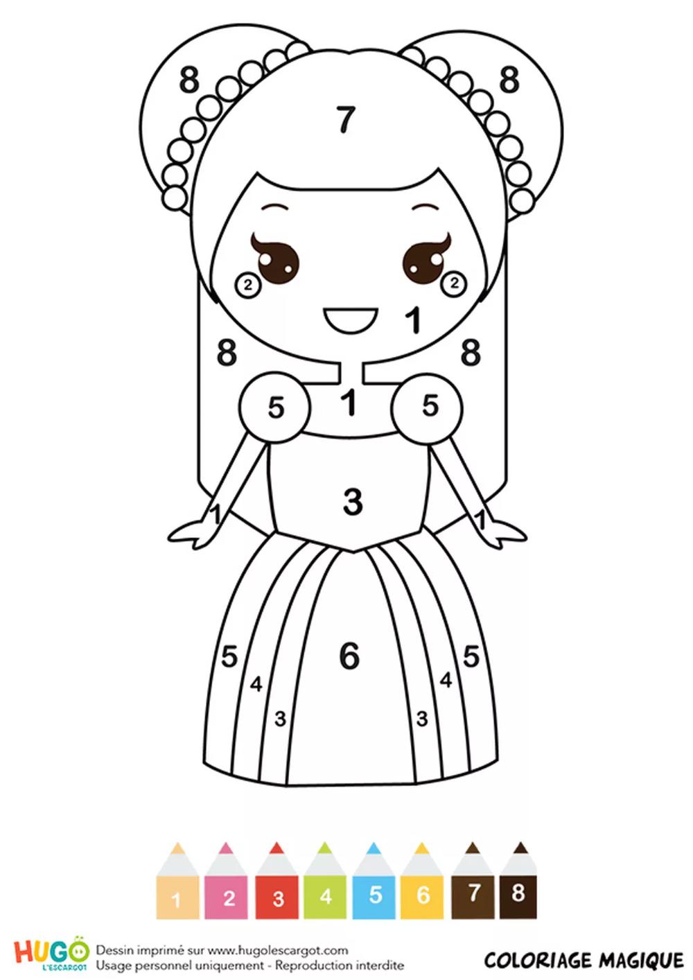 Coloriages Magiques: coloriages magiques princesses