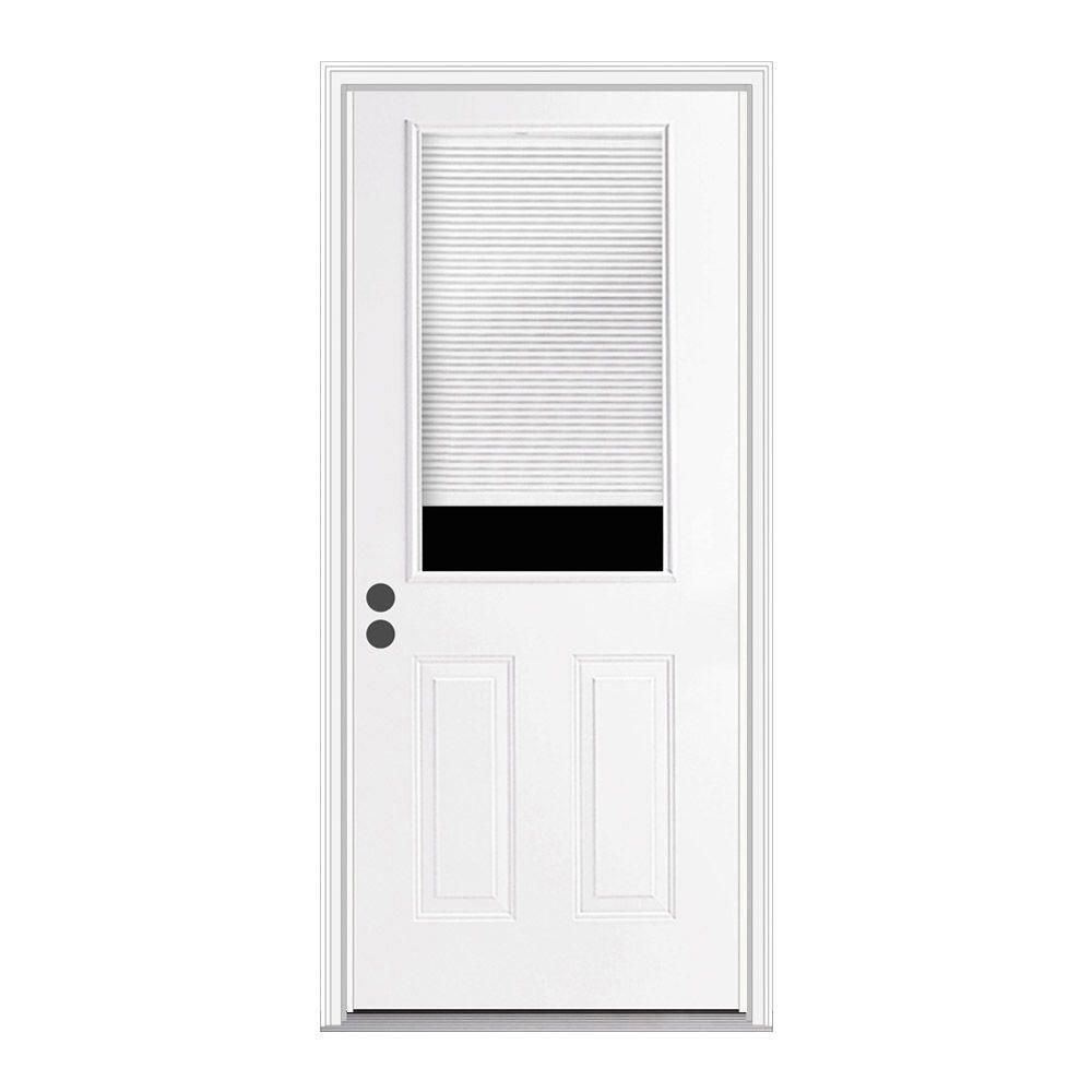 Jeld Wen 32 In X 80 In Primed Right Hand Inswing 1 2 Lite Clear Steel Prehung Back Door W Brickmould Thdjw184700031 The Home Depot Entry Doors Steel Entry Doors Steel Doors Exterior